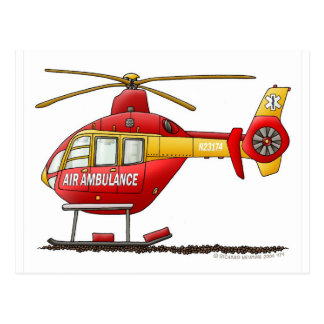 EMS EMT Rescue Medical Helicopter Ambulance Postcard
