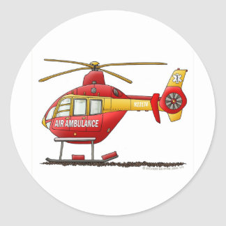 EMS EMT Rescue Medical Helicopter Ambulance Round Sticker