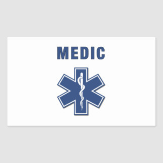 EMS ParaMedic Star of Life Rectangle Stickers