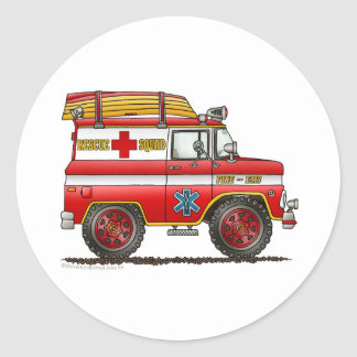 EMS Rescue Van Ambulance Fire Truck Classic Round Sticker