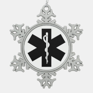 EMS Theme Snowflake Pewter Christmas Ornament