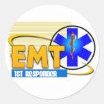EMT 1ST RESPONDER EMERGENCY MEDICAL TECHNICIAN ROUND STICKER
