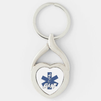 EMT Active Silver-Colored Twisted Heart Key Ring