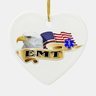 EMT American Pride Eagle Flag Ceramic Heart Decoration