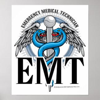 EMT Caduceus Blue Poster