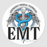 EMT Caduceus Blue Round Sticker