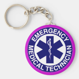 EMT Emergency Medical Technician Basic Round Button Key Ring