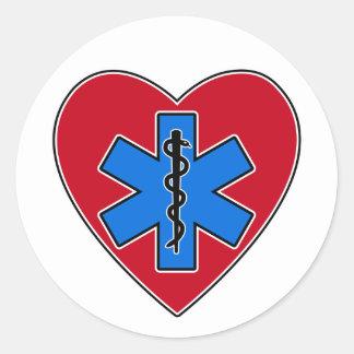 EMT Heart Classic Round Sticker