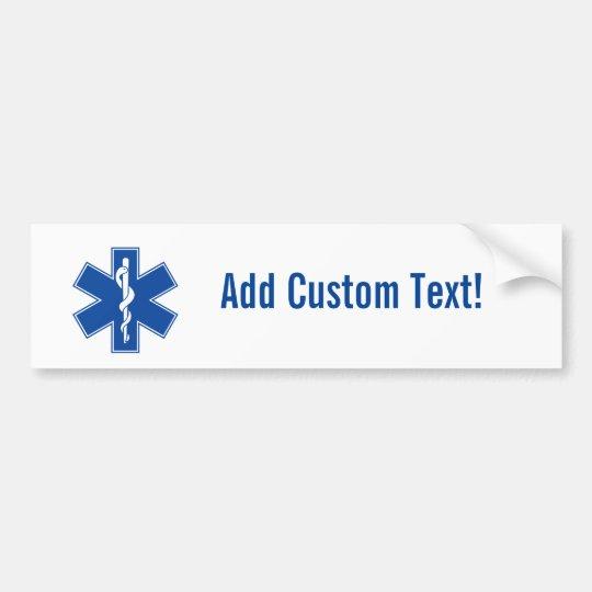 EMT Paramedic Symbol Custom Bumper Sticker