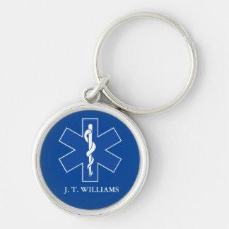 EMT Paramedic Symbol Custom Silver-Colored Round Key Ring