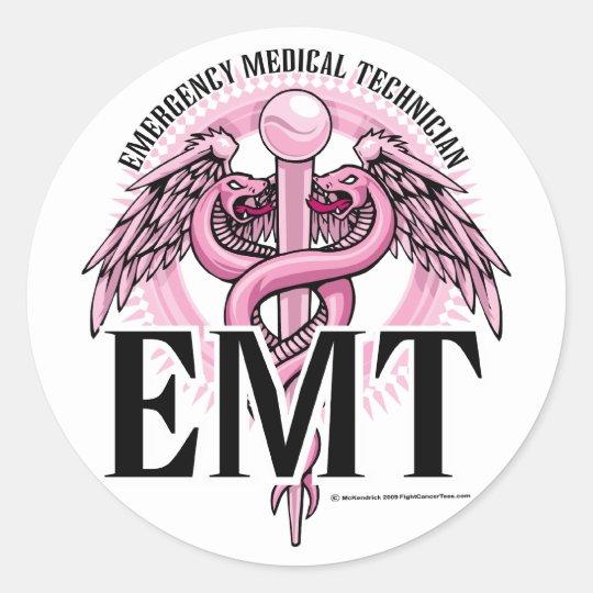EMT Pink Caduceus Classic Round Sticker