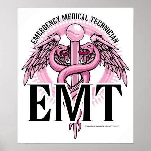 EMT Pink Caduceus Posters