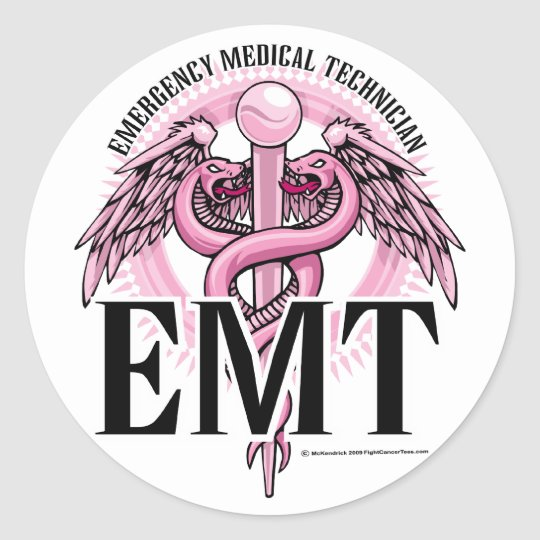 EMT Pink Caduceus Round Sticker