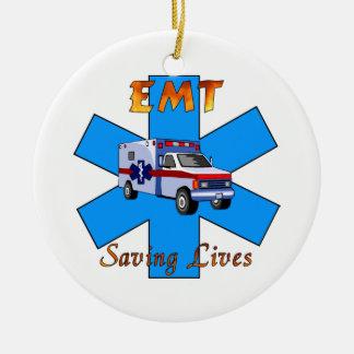 EMT Saving Lives Round Ceramic Decoration