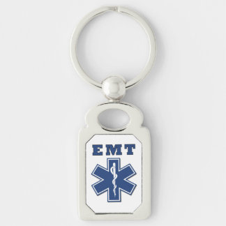 EMT Star of Life Silver-Colored Rectangle Key Ring