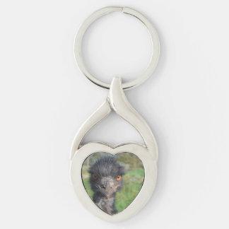 emu-7.jpg Silver-Colored Heart-Shaped metal keychain