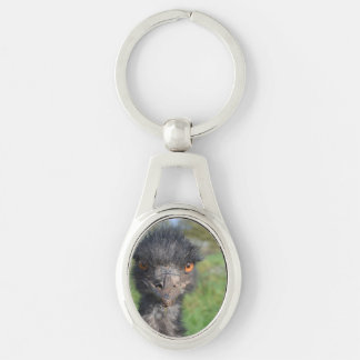 emu-7.jpg Silver-Colored oval key ring