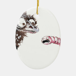 Emu and Worm Christmas Ornament