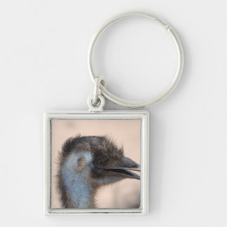 Emu Face Silver-Colored Square Key Ring