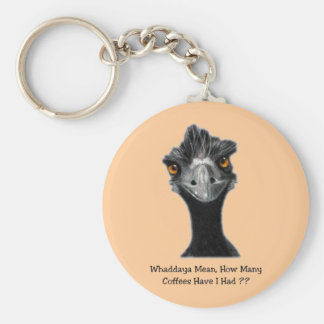 Emu: Funny, Humor: Too Many Coffees: Art Key Ring