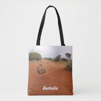 Emu in the desert tote bag