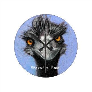 Emu, Ostrich: Funny, Alert: Wake Up Time: art Round Wall Clock