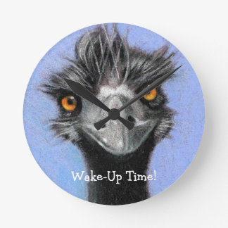 Emu, Ostrich: Funny, Alert: Wake Up Time: art Wall Clock
