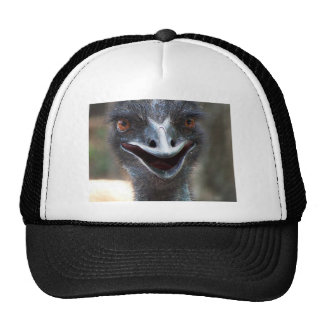 Emu saying HI! Open beak big brown eyes picture Hats