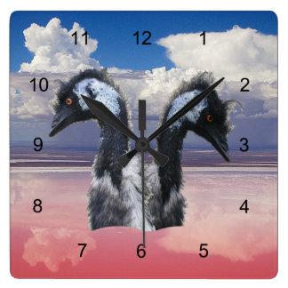 Emus on Lake Eyre Wall Clocks