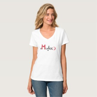 eMusico - T-Shirt woman - V-neck - white