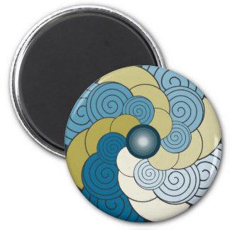 En Espiral azul dorado Magnet