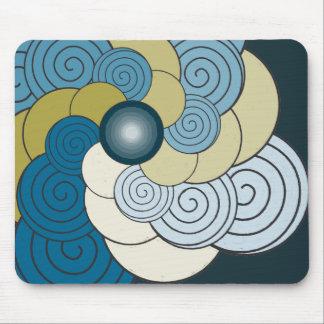 En Espiral azul dorado Mousepad