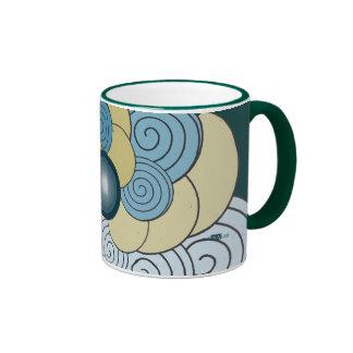 En Espiral azul dorado. Mugs