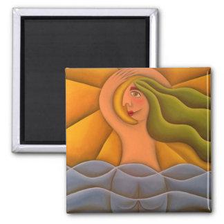 En la playa pintura óleo arte square magnet