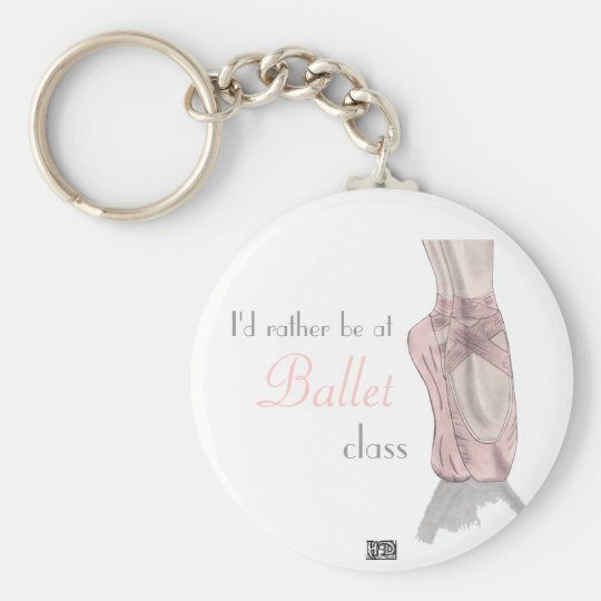 En pointe basic round button key ring