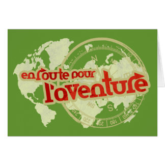 en route pour l'aventure vacation card greeting card