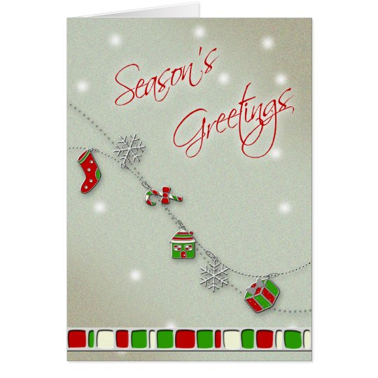 Enamel Charms Christmas Greeting Card