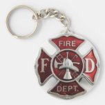 'enamel' fire dept insignia basic round button key ring