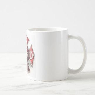enamel fire dept insignia coffee mug