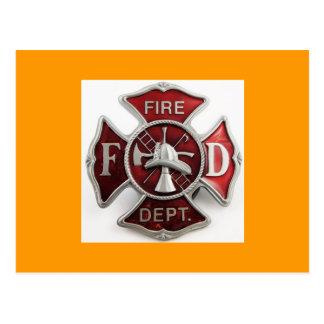 'enamel' fire dept insignia postcard