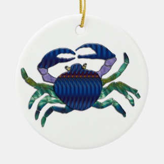 Enameled Blue Crab Round Ceramic Decoration