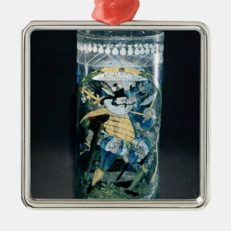 Enamelled decoration of a Hunter and a Woman