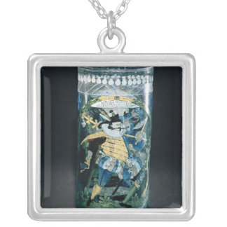 Enamelled decoration of a Hunter and a Woman Silver Plated Necklace