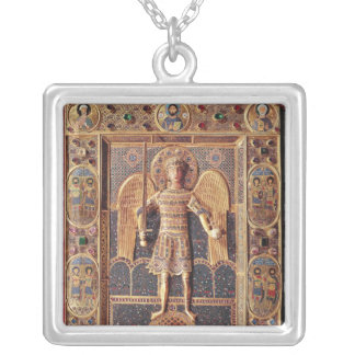 Enamelled plaque depicting the Archangel Michael Silver Plated Necklace