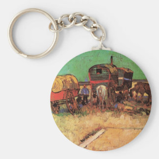 Encampment of Gypsies Caravans by Vincent van Gogh Basic Round Button Key Ring