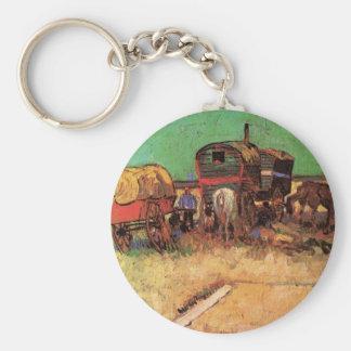 Encampment of Gypsies Caravans by Vincent van Gogh Key Ring