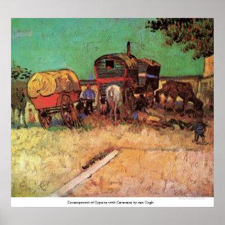Encampment of Gypsies with Caravans by van Gogh Poster