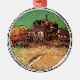 Encampment of Gypsies with Caravans, Van Gogh Silver-Colored Round Decoration