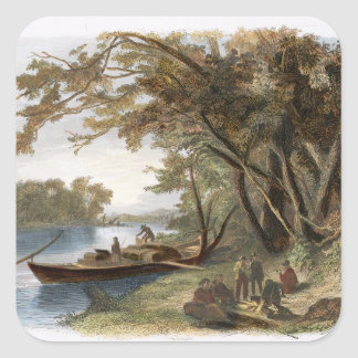 Encampment of the Travellers on the Missouri, plat Square Sticker