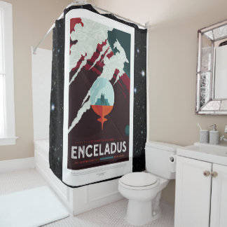 Enceladus Moon of Saturn advert for space tourism Shower Curtain